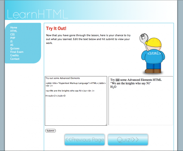 LearnHTML - Try it!